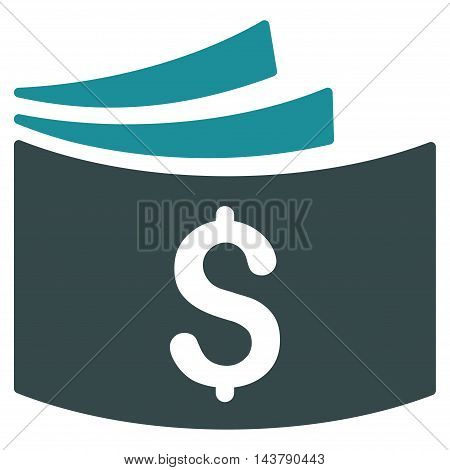 Checkbook icon. Vector style is bicolor flat iconic symbol with rounded angles, soft blue colors, white background.