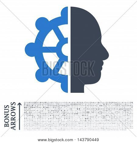 Intellect icon with 1200 bonus arrow and direction pictograms. Vector illustration style is flat iconic bicolor symbols, smooth blue colors, white background.