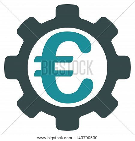 Euro Options icon. Vector style is bicolor flat iconic symbol with rounded angles, soft blue colors, white background.