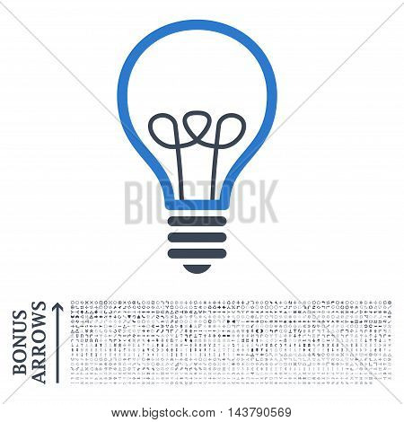 Lamp Bulb icon with 1200 bonus arrow and navigation pictograms. Vector illustration style is flat iconic bicolor symbols, smooth blue colors, white background.