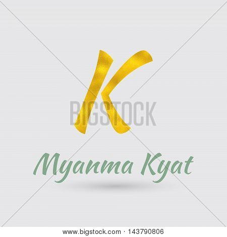 Symbol of the Myanmar Currency with Golden Texture.Vector EPS 10