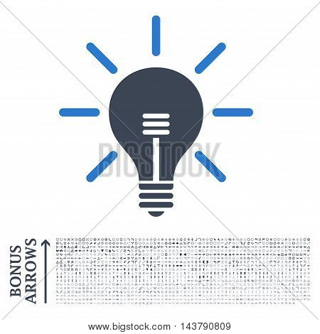 Light Bulb icon with 1200 bonus arrow and direction pictograms. Vector illustration style is flat iconic bicolor symbols, smooth blue colors, white background.