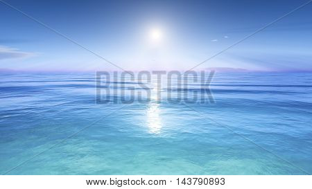 3d rendering of the sun over the sea