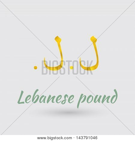 Symbol of the Lebanon Currency with Golden Texture.Vector EPS 10