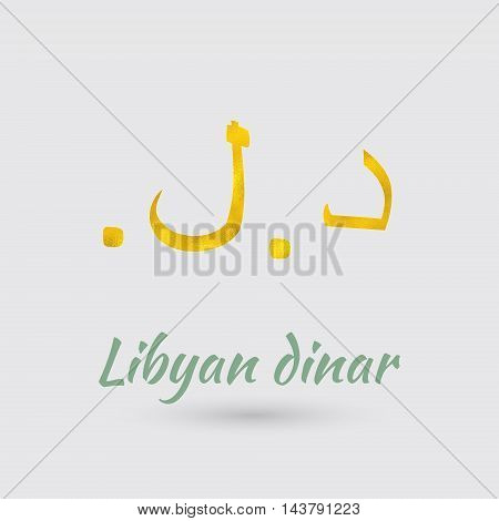 Symbol of the Libya Currency with Golden Texture.Vector EPS 10
