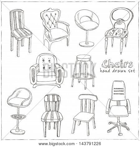 Doodle Set of isolated chairs Vector illustration