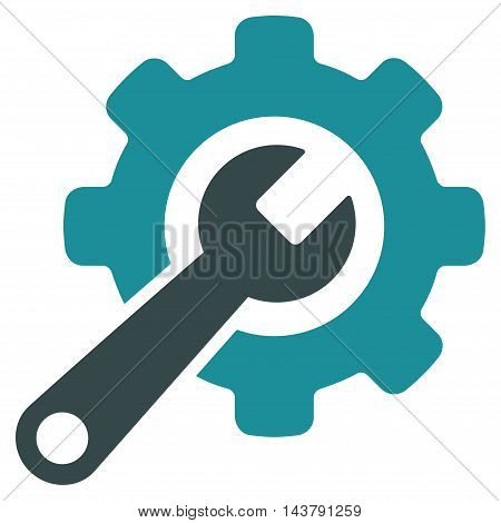 Tools icon. Vector style is bicolor flat iconic symbol with rounded angles, soft blue colors, white background.