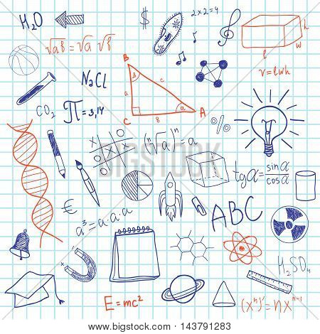 Formula and graphics written on notebook sheet in a cage. Scientific sketches. Geometry and math illustration handmade items. Crib on notebook sheet. Chemical formulas. Sketches on a school theme.