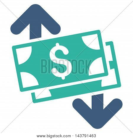 Banknotes Spending icon. Vector style is bicolor flat iconic symbol with rounded angles, cobalt and cyan colors, white background.
