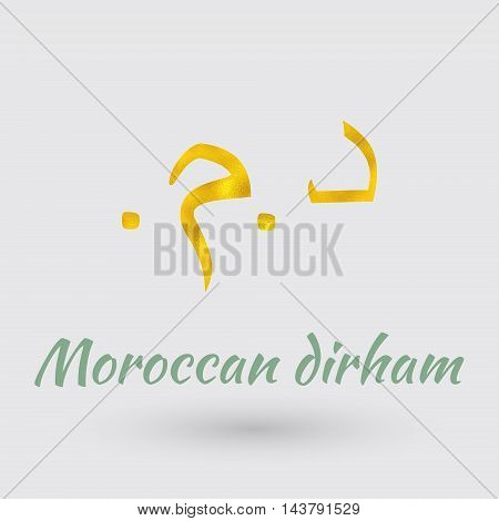Symbol of the Morocco Currency with Golden Texture.Vector EPS 10