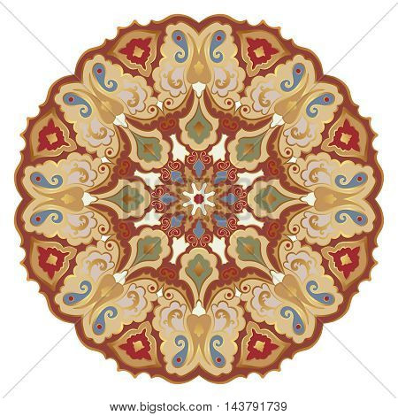 Ornate eastern mandala with golden contour. Vector round colorful ornament in brown tones isolated on a white background.