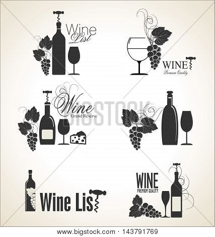 Vector set of wine black and white labels. Vintage badges and logos.
