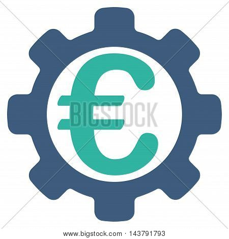 Euro Options icon. Vector style is bicolor flat iconic symbol with rounded angles, cobalt and cyan colors, white background.