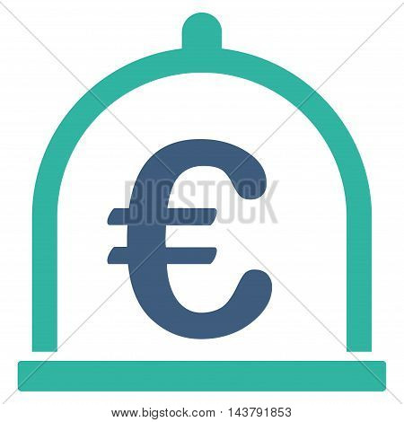 Euro Storage icon. Vector style is bicolor flat iconic symbol with rounded angles, cobalt and cyan colors, white background.