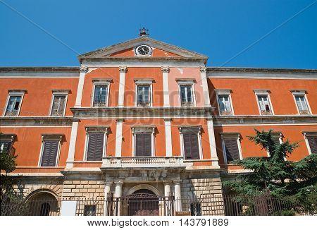 Perspective of Seminary palace. Molfetta. Puglia. Italy.