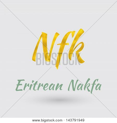 Symbol of the Eritrea Currency with Golden Texture.Vector EPS 10