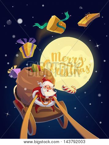 Christmas Card. Santa with the bunch of presents and candies riding on a sleigh with the moon at the background. Merry Christmas Lettering. Vector illustration.