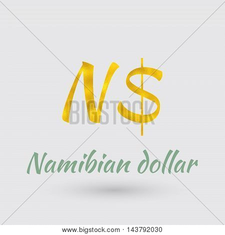 Symbol of the Namibia Currency with Golden Texture.Vector EPS 10