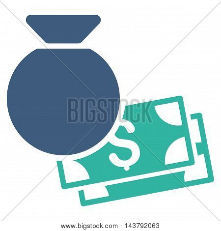 Money Bag icon. Vector style is bicolor flat iconic symbol with rounded angles, cobalt and cyan colors, white background.