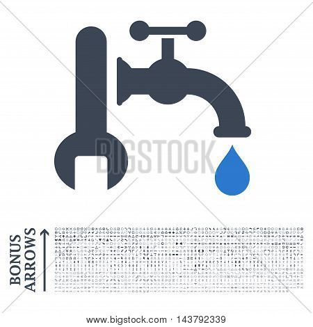 Plumbing icon with 1200 bonus arrow and direction pictograms. Vector illustration style is flat iconic bicolor symbols, smooth blue colors, white background.