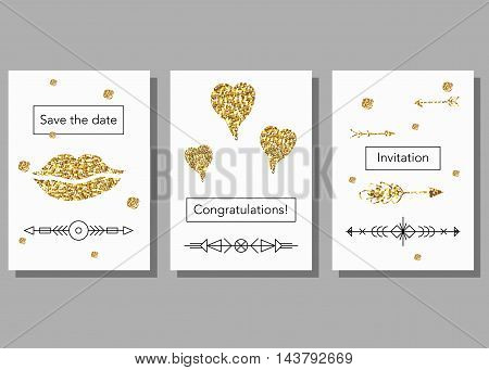 Set of gold glitter abstract designs and linear hipster elements. Invitation, greeting card, poster design templates.