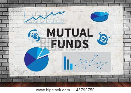 MUTUAL FUNDS on brick wall and poster concept