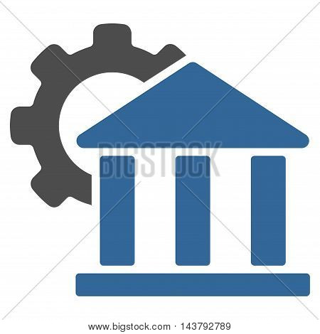 Bank Settings icon. Vector style is bicolor flat iconic symbol with rounded angles, cobalt and gray colors, white background.