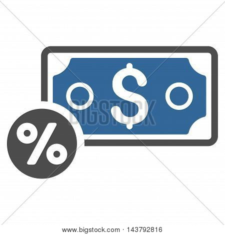 Banknote Percent icon. Vector style is bicolor flat iconic symbol with rounded angles, cobalt and gray colors, white background.