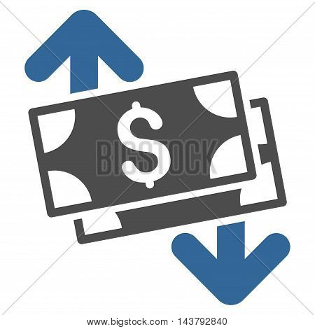 Banknotes Spending icon. Vector style is bicolor flat iconic symbol with rounded angles, cobalt and gray colors, white background.