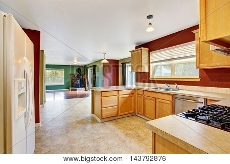 Modern Kitchen Room Interior With Red Walls