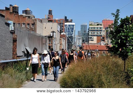 New York City - August 27 2010: View of the High Line Park's Section 1 looking north from West 18th Street built on an elevated 1930's freight rail structure on Manhattan's West Side