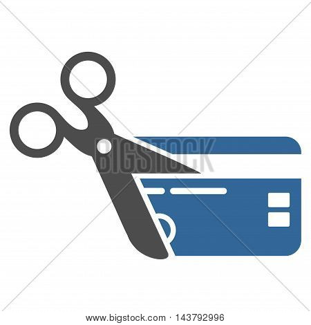 Cut Credit Card icon. Vector style is bicolor flat iconic symbol with rounded angles, cobalt and gray colors, white background.