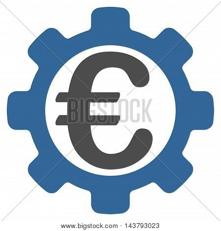 Euro Options icon. Vector style is bicolor flat iconic symbol with rounded angles, cobalt and gray colors, white background.