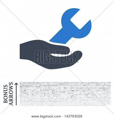 Repair Service icon with 1200 bonus arrow and navigation pictograms. Vector illustration style is flat iconic bicolor symbols, smooth blue colors, white background.