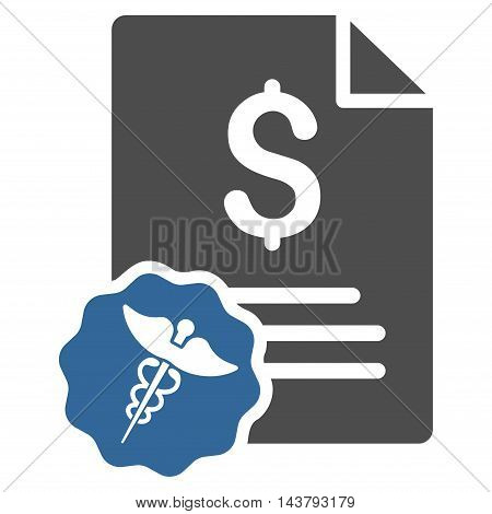 Medical Invoice icon. Vector style is bicolor flat iconic symbol with rounded angles, cobalt and gray colors, white background.