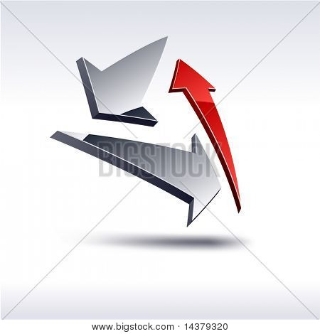 Abstract modern 3d arrows symbol. Vector.