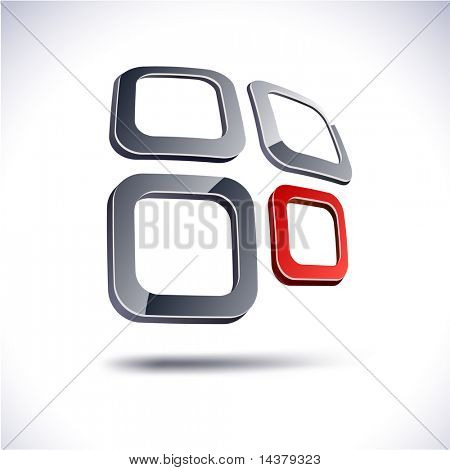 Abstract modern 3d symbol. Vector.
