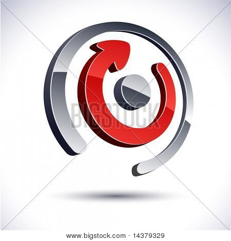 Abstract modern 3d rotate symbol. Vector.