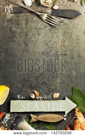 Seafood Background. Lots of copy space.Top view