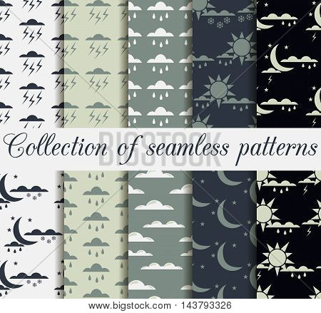 Set Weather Seamless Patterns With Raindrops, Clouds With The Sun And Moon With The Stars For Wallpa