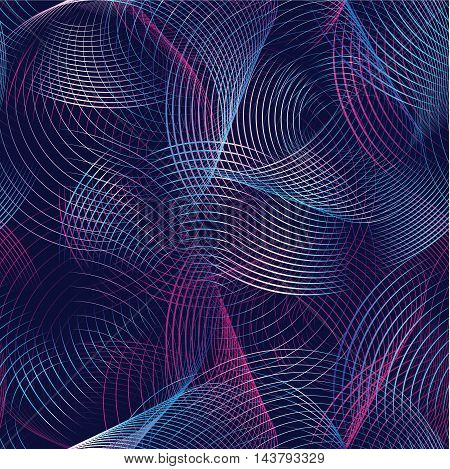 Abstract vector seamless pattern futuristic background with colored circular lines and waves. Decorative element looking volumetric and luminous.