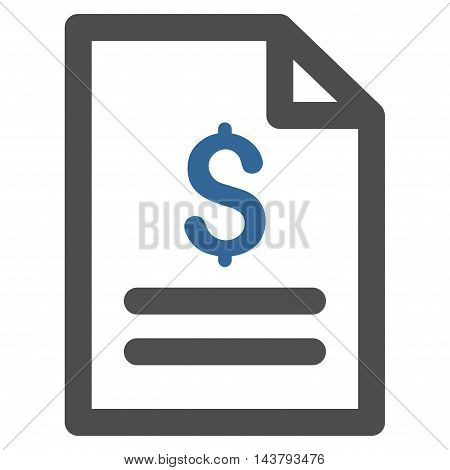 Price List icon. Vector style is bicolor flat iconic symbol with rounded angles, cobalt and gray colors, white background.
