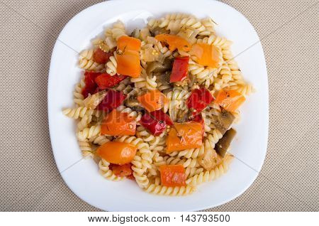 Top View Of The Italian Pasta Fusilli With Vegetable Sauce