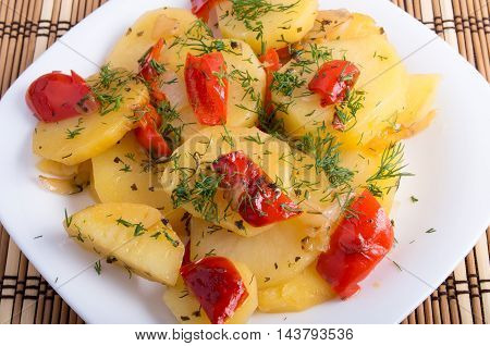 Close Up View On A Vegetarian Dish With Slices Of Stewed Potatoes
