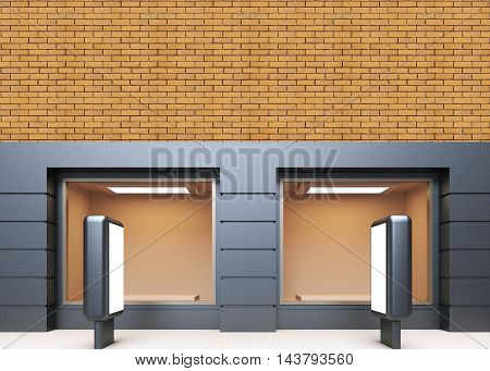 View Of The Store Facade. Billboard. 3D Rendering