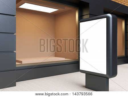Shop In The Old House. Billboard. 3D Rendering
