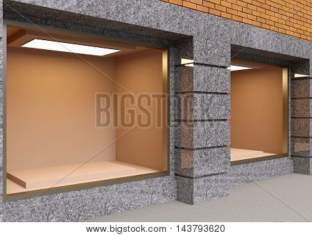 View Of The Store Facade. 3D Rendering