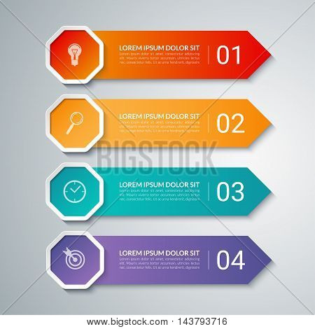 Infographic arrow design elements. Business template with 4 options, steps, parts. Can be used for diagram, graph, chart, report, data visualisation, web design. Colorful vector banner