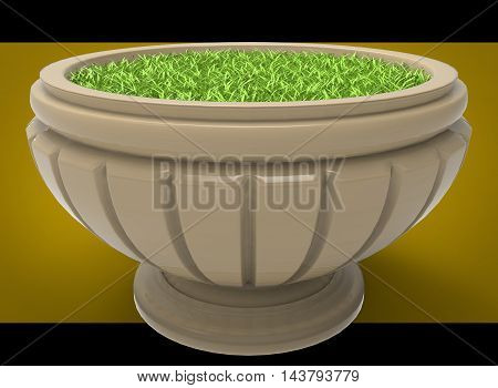3d illustration of flowerbed with grass. yellow background isolated. icon for game web. green juicy color. with shadow.