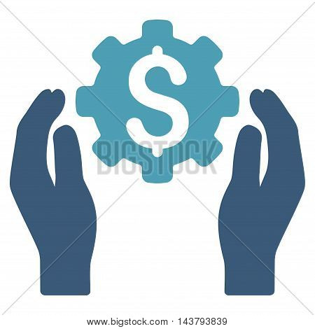 Banking Maintenance Hands icon. Vector style is bicolor flat iconic symbol with rounded angles, cyan and blue colors, white background.